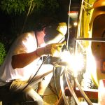 Mark Goerner arc welding the front structure for the PyroCar